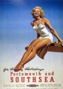 Portsmouth & Southsea, Hampshire. Vintage BR Travel Poster by Alan Durman